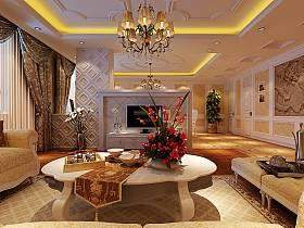 欧式客厅沙发电视柜茶几装修图