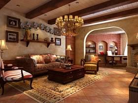 美式美式风格客厅背景墙沙发客厅沙发设计案例展示