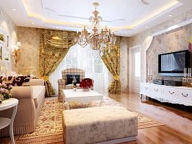 韩式客厅吊顶窗帘电视背景墙装修图