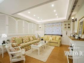 田园韩式田园风格客厅背景墙沙发客厅沙发装修案例