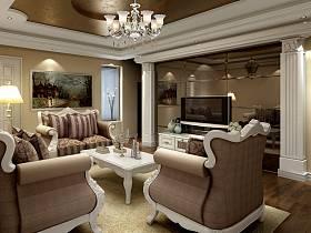欧式电视背景墙客厅吊灯设计案例