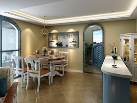 地中海餐厅吊顶背景墙设计图