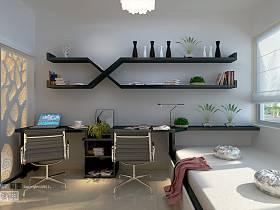 现代简约书房榻榻米写字桌设计图