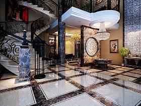 欧式欧式风格大厅楼梯设计方案
