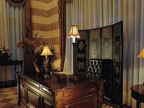 美式美式风格书房别墅装修效果展示