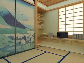 日式工作区效果图