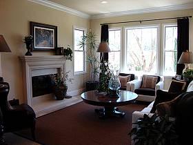 美式客厅复式楼三室两厅两卫吊顶窗帘装修图