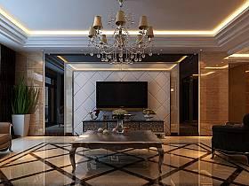 欧式客厅电视柜电视背景墙客厅吊灯设计案例