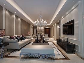 欧式客厅沙发电视柜茶几客厅吊灯图片