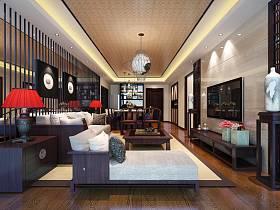 中式客厅沙发电视柜茶几电视背景墙客厅吊灯设计图