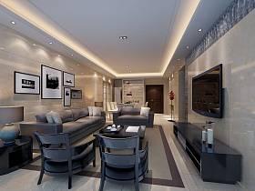 现代客厅沙发电视柜茶几电视背景墙设计案例