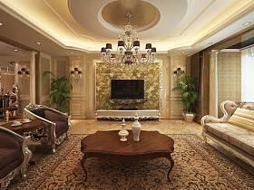 欧式豪华客厅吊顶电视背景墙效果图