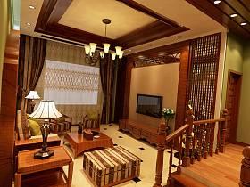 东南亚客厅吊顶窗帘楼梯电视柜电视背景墙设计案例展示