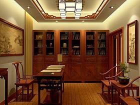 中式书房交换空间吊顶设计图