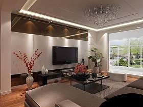 现代客厅沙发电视背景墙客厅吊灯装修图