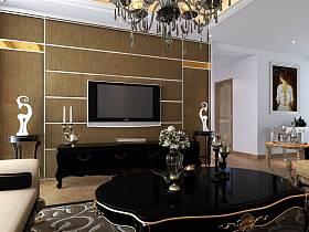 欧式客厅单身公寓电视背景墙效果图