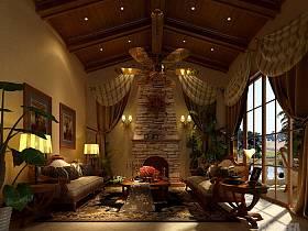别墅吊顶窗帘设计方案