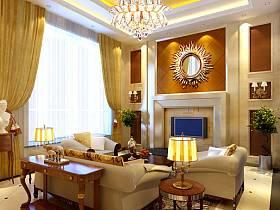 欧式客厅别墅沙发茶几电视背景墙装修案例