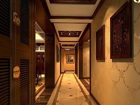 中式玄关别墅过道吊顶进门鞋柜玄关柜设计案例