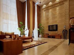 新中式客厅别墅窗帘电视柜电视背景墙效果图