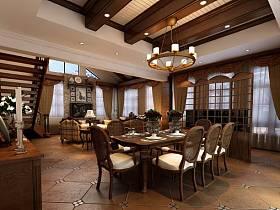 餐厅别墅吊顶窗帘装修图