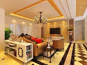 欧式客厅电视柜电视背景墙客厅吊灯装修效果展示