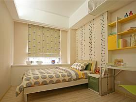 现代简约儿童房窗帘背景墙设计方案