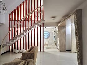现代别墅过道楼梯效果图