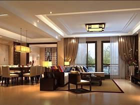 新中式客厅吊顶窗帘电视柜电视背景墙设计方案