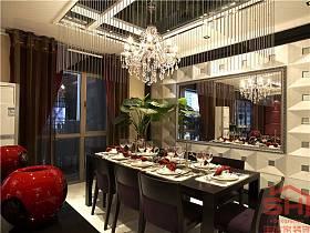 现代餐厅吊顶窗帘装修案例