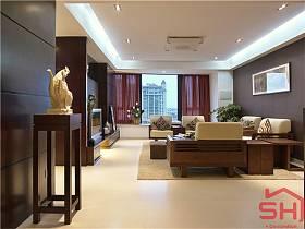 客厅吊顶窗帘沙发实木家具电视柜电视背景墙客厅吊灯装修效果展示