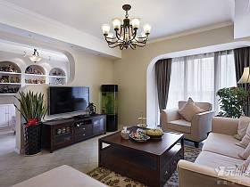 美式客厅跃层窗帘电视背景墙装修效果展示