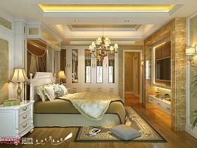 欧式卧室跃层吊顶电视背景墙装修效果展示