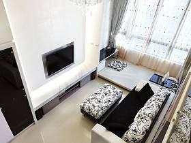 客厅吊顶窗帘电视柜电视背景墙效果图