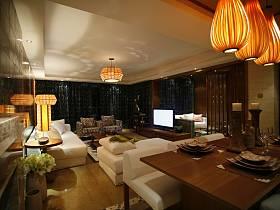 简约客厅跃层吊顶窗帘电视柜电视背景墙装修效果展示