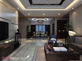 中式客厅吊顶电视背景墙图片