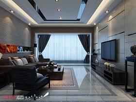 中式客厅吊顶窗帘装修效果展示