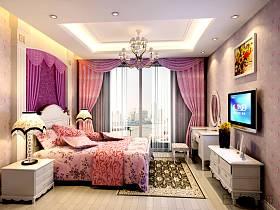 欧式卧室跃层电视背景墙装修效果展示