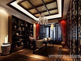 中式中式风格书房交换空间吊顶设计案例展示
