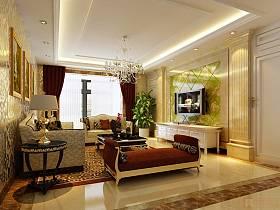 法式客厅吊顶电视柜电视背景墙装修图