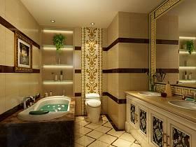 法式浴室三室两厅两卫吊顶效果图