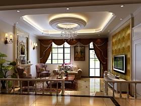欧式客厅别墅沙发电视柜电视背景墙客厅吊灯装修图