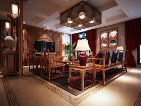 中式客厅吊顶背景墙装修案例