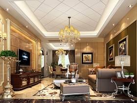 欧式客厅沙发电视柜茶几设计案例展示