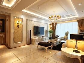 欧式客厅沙发电视柜茶几装修效果展示