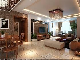 中式客厅沙发电视柜茶几设计案例展示