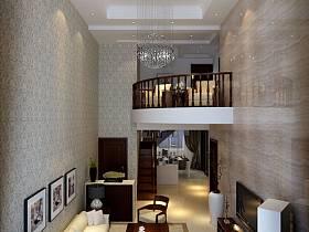 现代客厅复式楼吊顶电视背景墙案例展示