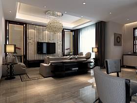 新古典客厅吊顶沙发电视墙设计图