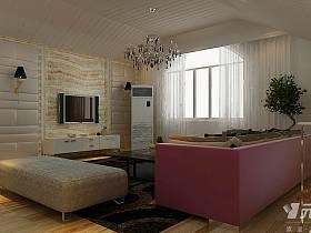 简约客厅复式楼吊顶电视背景墙装修案例