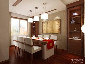 中式餐厅复式楼吊顶装修图